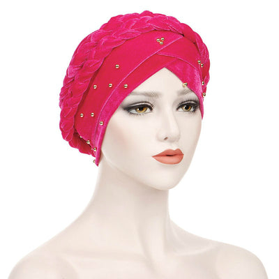 Faith Braided Headwrap Basic Headscarf Headwear Head covering Hijab Chemo Hat Pre-tied Pink