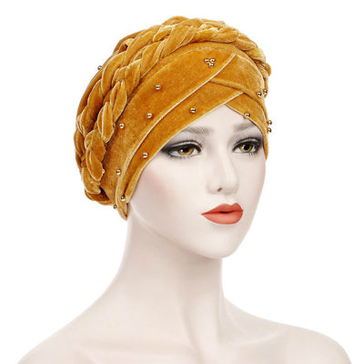 Faith Braided Headwrap Basic Headscarf Headwear Head covering Hijab Chemo Hat Pre-tied Yellow