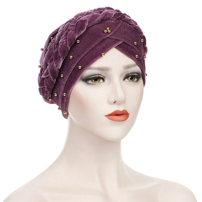 Faith Braided Headwrap Basic Headscarf Headwear Head covering Hijab Chemo Hat Pre-tied Purple