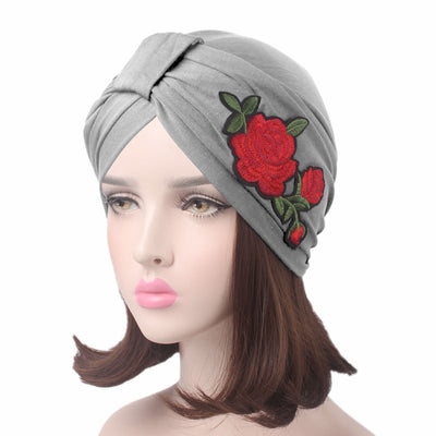 Floral_patch_turban_head_wrasp_headcovers_headcovering_modest_fashion_mall-gray