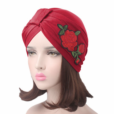 Floral_patch_turban_head_wrasp_headcovers_headcovering_modest_fashion_mall-red
