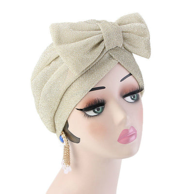 Gail Metallic Bow Turban_Turbans_Head_covering_Modest_Headcovres_Chemo hat_Cancer hat_Church_Fancy_Pre_tied_Beige