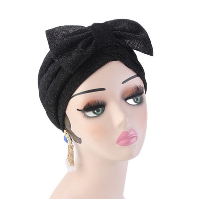 Gail Metallic Bow Turban_Turbans_Head_covering_Modest_Headcovres_Chemo hat_Cancer hat_Church_Fancy_Pre_tied_Black