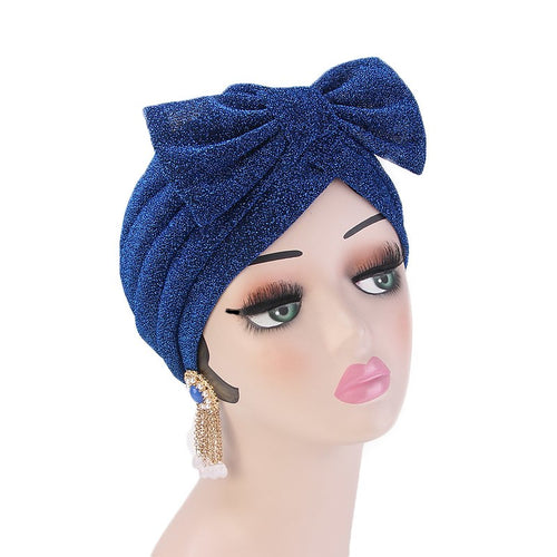 Gail Metallic Bow Turban_Turbans_Head_covering_Modest_Headcovres_Chemo hat_Cancer hat_Church_Fancy_Pre_tied_Blue