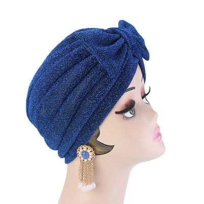 Gail Metallic Bow Turban_Turbans_Head_covering_Modest_Headcovres_Chemo hat_Cancer hat_Church_Fancy_Pre_tied_Blue-3