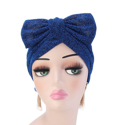 Gail Metallic Bow Turban_Turbans_Head_covering_Modest_Headcovres_Chemo hat_Cancer hat_Church_Fancy_Pre_tied_Blue-2