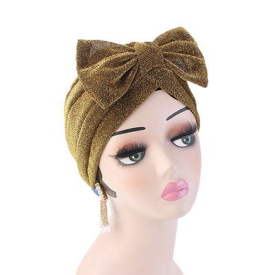 Gail Metallic Bow Turban_Turbans_Head_covering_Modest_Headcovres_Chemo hat_Cancer hat_Church_Fancy_Pre_tied_Gold