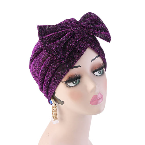 Gail Metallic Bow Turban_Turbans_Head_covering_Modest_Headcovres_Chemo hat_Cancer hat_Church_Fancy_Pre_tied_Purple