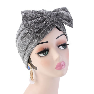 Gail Metallic Bow Turban_Turbans_Head_covering_Modest_Headcovres_Chemo hat_Cancer hat_Church_Fancy_Pre_tied_Silver