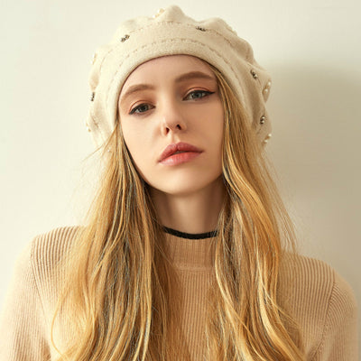 Gali Pearls Beret Women Hat Wool Knitted Solid Color Berets Fashion Female Beanies Warm Cap Beige