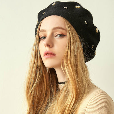 Gali Pearls Beret Women Hat Wool Knitted Solid Color Berets Fashion Female Beanies Warm Cap Black