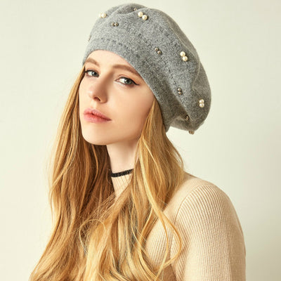 Gali Pearls Beret Women Hat Wool Knitted Solid Color Berets Fashion Female Beanies Warm Cap Gray-2