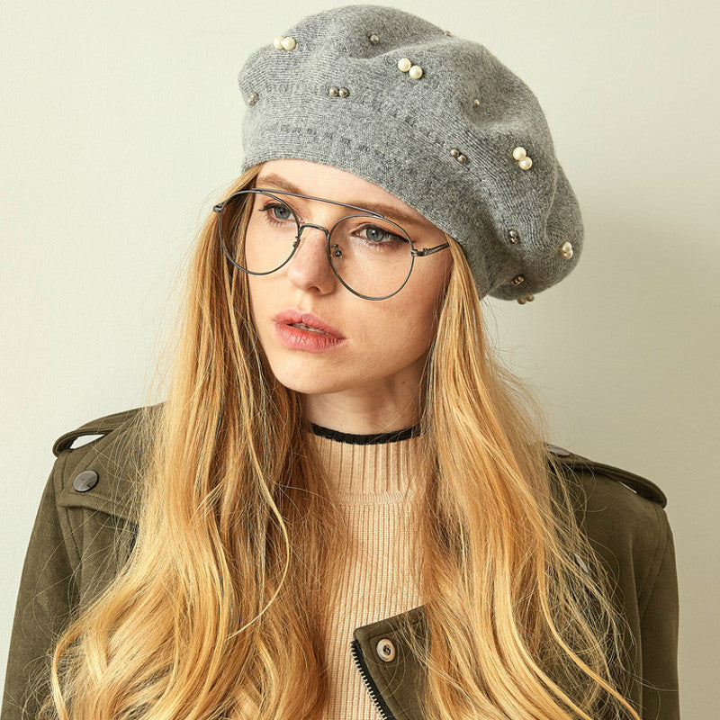 Gali Pearls Beret Women Hat Wool Knitted Solid Color Berets Fashion Female Beanies Warm Cap Gray