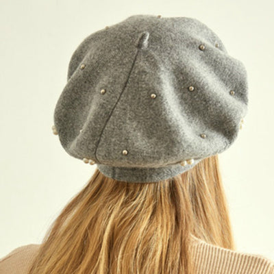 Gali Pearls Beret Women Hat Wool Knitted Solid Color Berets Fashion Female Beanies Warm Cap Gray-3