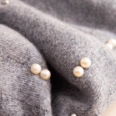 Gali Pearls Beret Women Hat Wool Knitted Solid Color Berets Fashion Female Beanies Warm Cap Gray-4