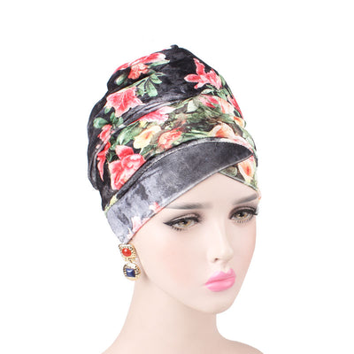 Gina Velvet Head Wrap_Headscarf_Headwear_Head covering_Headscarves_Floral_Black