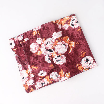 Gina Velvet Head Wrap_Headscarf_Headwear_Head covering_Headscarves_Floral_Burgundy