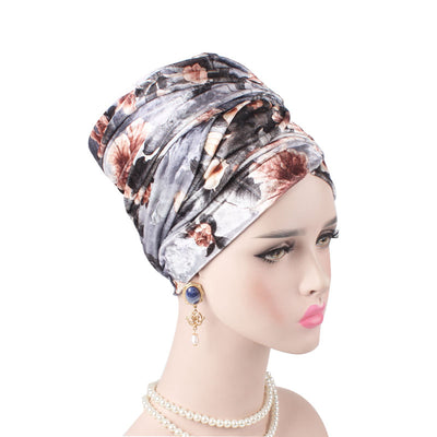 Gina Velvet Head Wrap_Headscarf_Headwear_Head covering_Headscarves_Floral_Gray