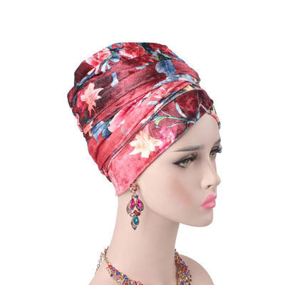 Gina Velvet Head Wrap_Headscarf_Headwear_Head covering_Headscarves_Floral_Red