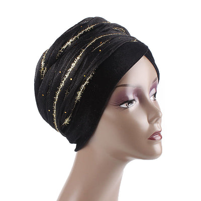 Gold African Head Wrap_Headscarf_Head wear_Head covering_Headscarves_Head wraps_Black