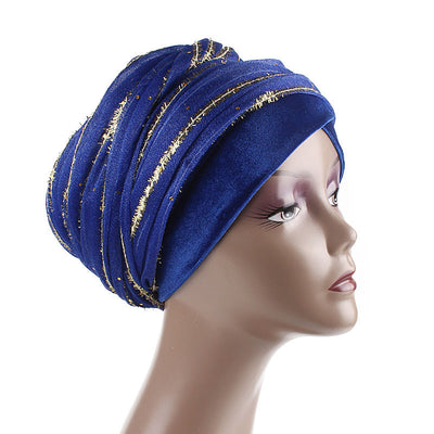 Gold African Head Wrap_Headscarf_Head wear_Head covering_Headscarves_Head wraps_Blue