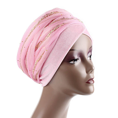 Gold African Head Wrap_Headscarf_Head wear_Head covering_Headscarves_Head wraps_Pink