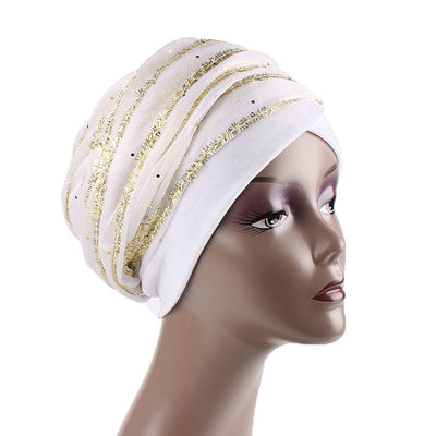 Gold African Head Wrap_Headscarf_Head wear_Head covering_Headscarves_Head wraps_White