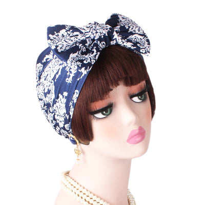 Gorgeous_Bow_Turban_Turbans_Head_Covering_Head_wrap_Headcovers_Blue