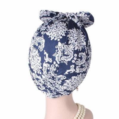 Gorgeous_Bow_Turban_Turbans_Head_Covering_Headwrap_Headcovers_Blue