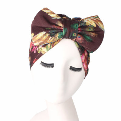 Gorgeous_Bow_Turban_Turbans_Head_Covering_Headwrap_Headcovers_Brown
