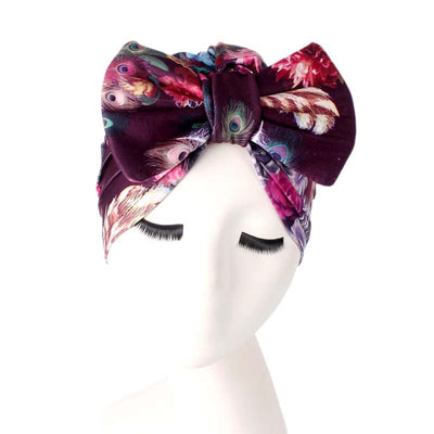 Gorgeous_Bow_Turban_Turbans_Head_Covering_Headwrap_Headcovers_Purple