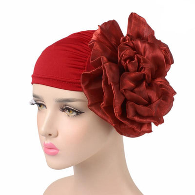 King_flower_turban_Head_covering_Modest_Headcovres_Elegant_Chemo hat_Cancer hat_Fancy_Wine_Red