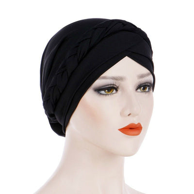 Hayden Basic Braided Headwrap Classic Cap, Chemotherapy Hat, Ladies Headscarf, Hair Accessories_Black