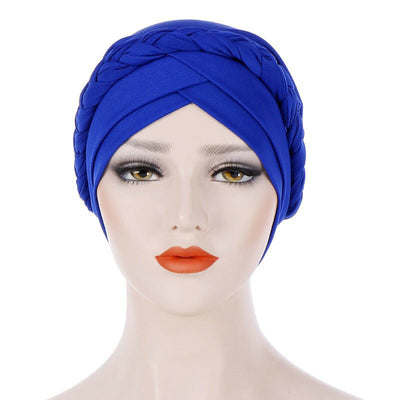 Hayden Basic Braided Headwrap Classic Cap, Chemotherapy Hat, Ladies Headscarf, Hair Accessories_Blue-2