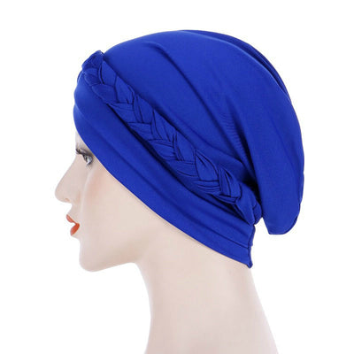 Hayden Basic Braided Headwrap Classic Cap, Chemotherapy Hat, Ladies Headscarf, Hair Accessories_Blue-3
