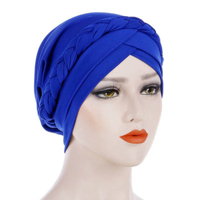 Hayden Basic Braided Headwrap Classic Cap, Chemotherapy Hat, Ladies Headscarf, Hair Accessories_Blue
