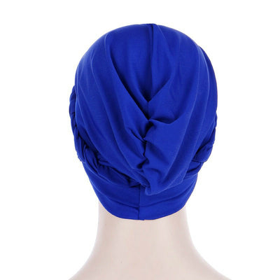 Hayden Basic Braided Headwrap Classic Cap, Chemotherapy Hat, Ladies Headscarf, Hair Accessories_Blue-4