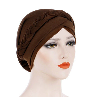 Hayden Basic Braided Headwrap Classic Cap, Chemotherapy Hat, Ladies Headscarf, Hair Accessories_Brown