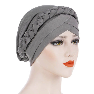 Hayden Basic Braided Headwrap Classic Cap, Chemotherapy Hat, Ladies Headscarf, Hair Accessories_Gray