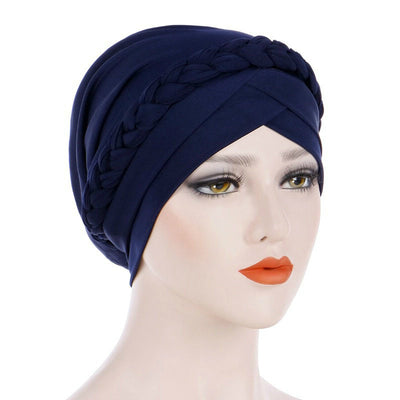 Hayden Basic Braided Headwrap Classic Cap, Chemotherapy Hat, Ladies Headscarf, Hair Accessories_Navy_Blue