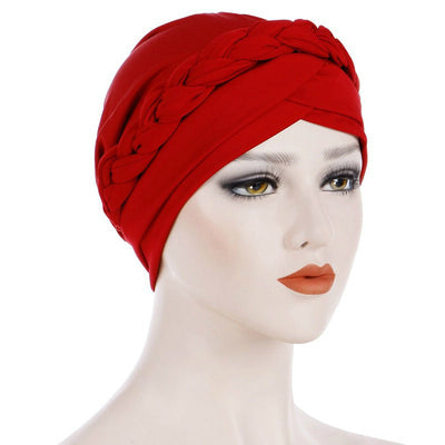 Hayden Basic Braided Headwrap Classic Cap, Chemotherapy Hat, Ladies Headscarf, Hair Accessories_Red