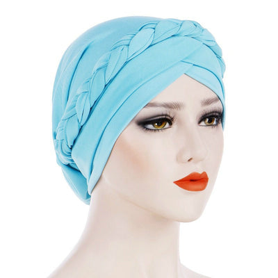 Hayden Basic Braided Headwrap Classic Cap, Chemotherapy Hat, Ladies Headscarf, Hair Accessories_Sky_Blue