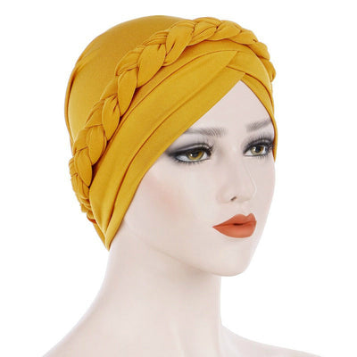 Hayden Basic Braided Headwrap Classic Cap, Chemotherapy Hat, Ladies Headscarf, Hair Accessories_Yellow