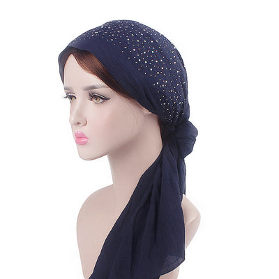 Helen Cotton Bandanna_Headwrap_Cancer hat_Chemo hat_Beanie_Hijab_Blue-2