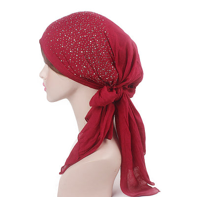 Helen Cotton Bandanna_Headwrap_Cancer hat_Chemo hat_Beanie_Hijab_Red-3