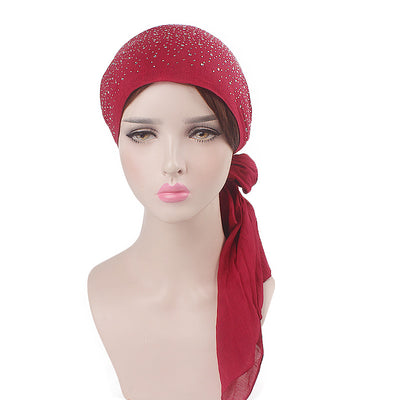 Helen Cotton Bandanna_Headwrap_Cancer hat_Chemo hat_Beanie_Hijab_Red-6