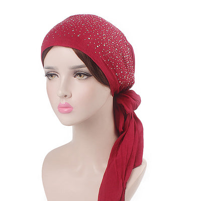 Helen Cotton Bandanna_Headwrap_Cancer hat_Chemo hat_Beanie_Hijab_Red