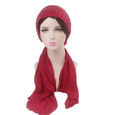 Helen Cotton Bandanna_Headwrap_Cancer hat_Chemo hat_Beanie_Hijab_Red-9