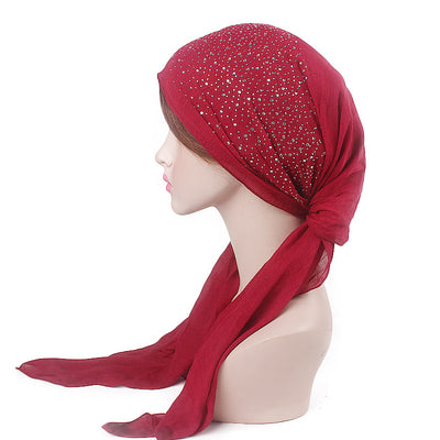 Helen Cotton Bandanna_Headwrap_Cancer hat_Chemo hat_Beanie_Hijab_Red-8