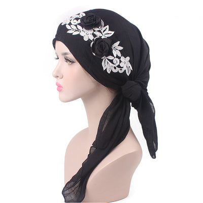 Isabella_Cotton_Floral Bandanna_Hijab_Cancer_hat_Chemo hat_Beanie_Black